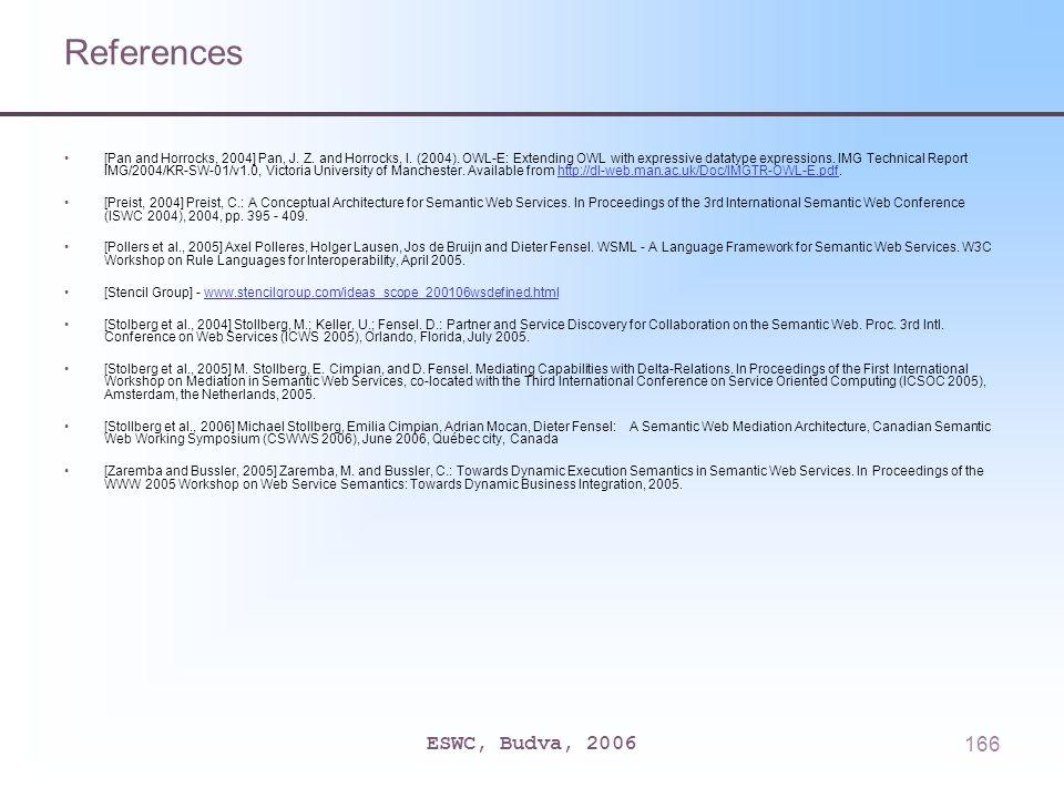 ESWC, Budva, 2006166 References [Pan and Horrocks, 2004] Pan, J.