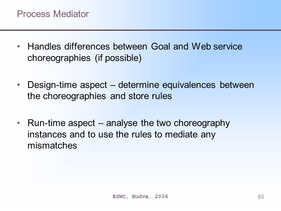 ESWC, Budva, 200665 Process Mediator Handles differences between Goal and Web service choreographies (if possible) Design-time aspect – determine equivalences between the choreographies and store rules Run-time aspect – analyse the two choreography instances and to use the rules to mediate any mismatches