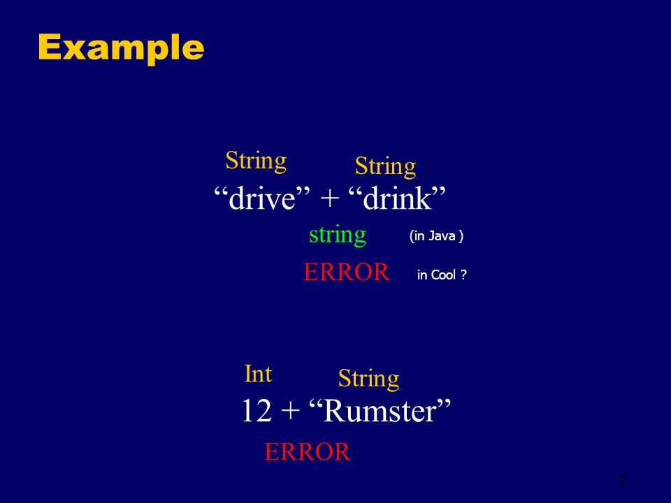 2 Example drive + drink 12 + Rumster String string Int String ERROR (in Java ) in Cool