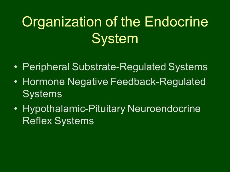 Organization of the Endocrine System Peripheral Substrate-Regulated Systems Hormone Negative Feedback-Regulated Systems Hypothalamic-Pituitary Neuroen