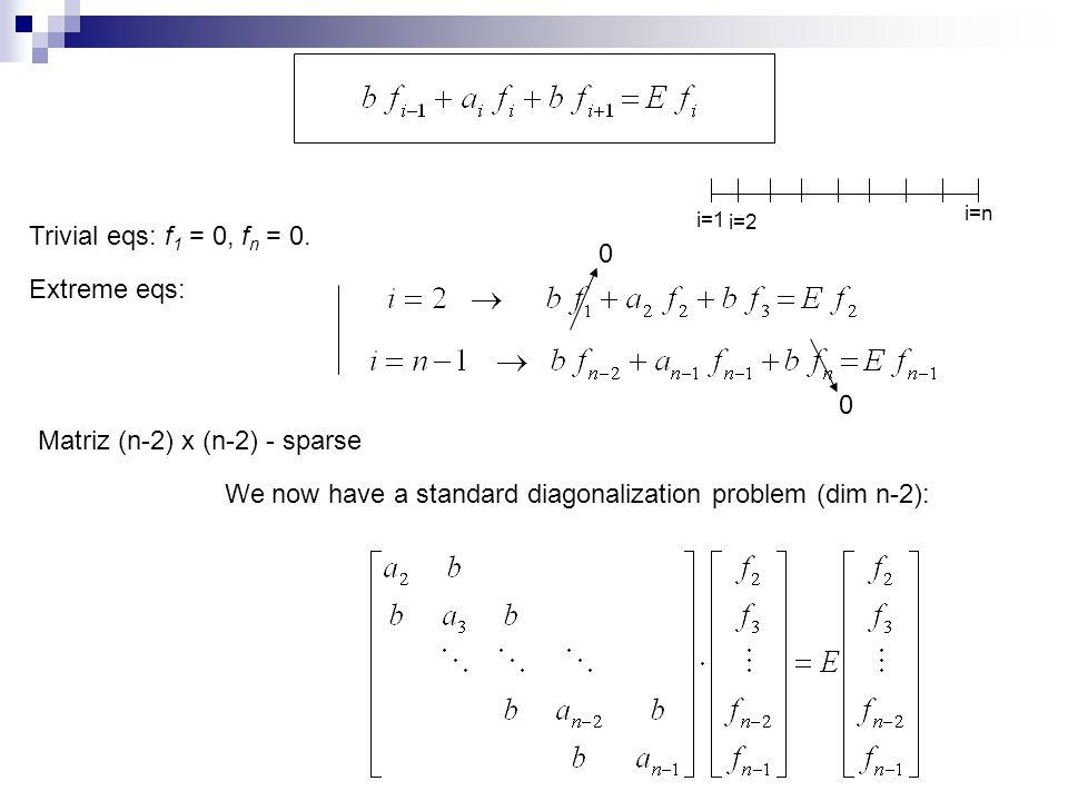 We now have a standard diagonalization problem (dim n-2): Trivial eqs: f 1 = 0, f n = 0.