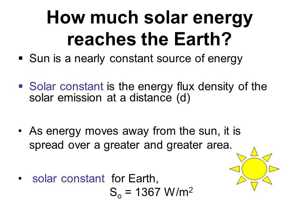 How much solar energy reaches the Earth.