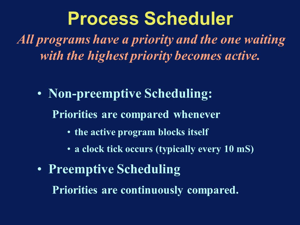Process Scheduler All programs have a priority and the one waiting with the highest priority becomes active.