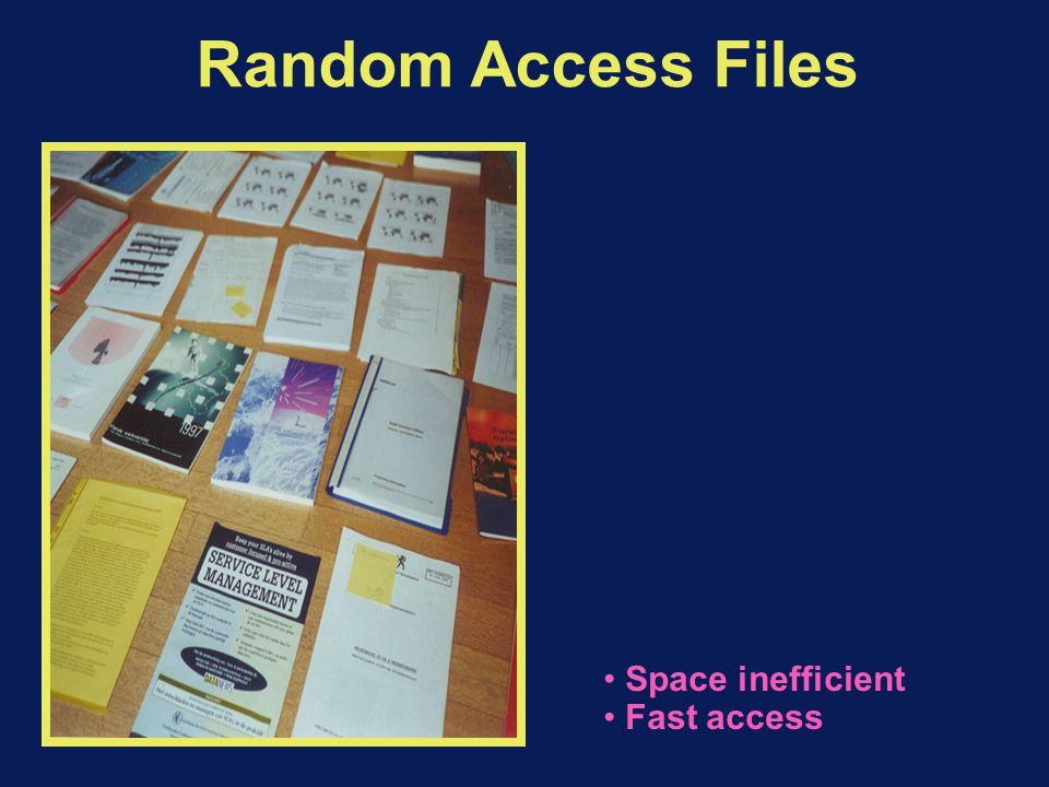 Random Access Files Space inefficient Fast access