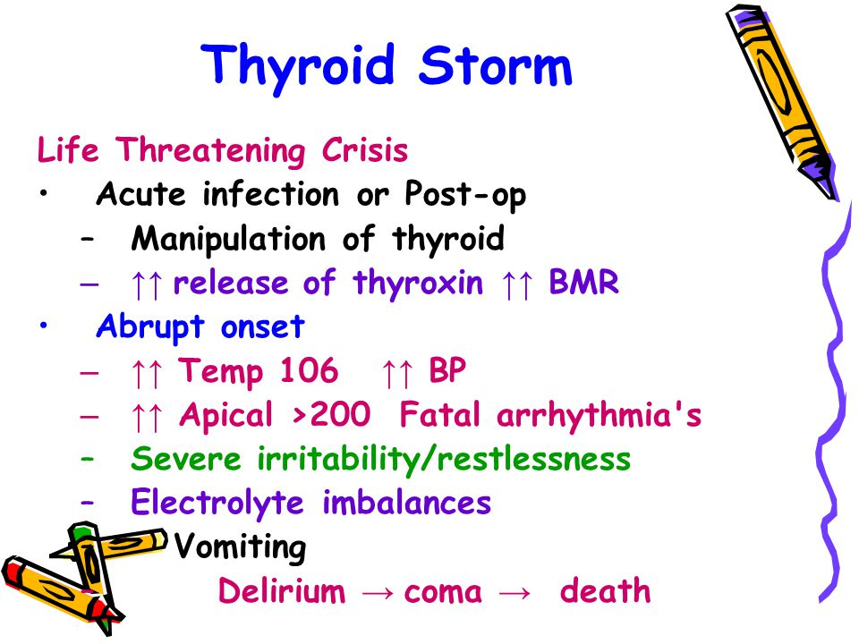 Thyroid Storm Life Threatening Crisis Acute infection or Post-op –Manipulation of thyroid –↑↑ release of thyroxin ↑↑ BMR Abrupt onset –↑↑ Temp 106 ↑↑