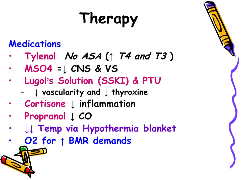 Therapy Medications Tylenol No ASA ( ↑ T4 and T3 ) MSO4 = ↓ CNS & VS Lugol ' s Solution (SSKI) & PTU – ↓ vascularity and ↓ thyroxine Cortisone ↓ inflammation Propranol ↓ CO ↓↓ Temp via Hypothermia blanket O2 for ↑ BMR demands