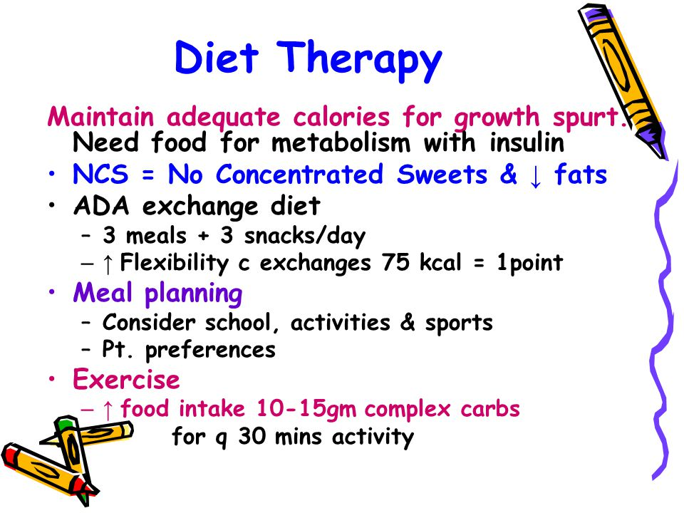 Diet Therapy Maintain adequate calories for growth spurt. Need food for metabolism with insulin NCS = No Concentrated Sweets & ↓ fats ADA exchange die