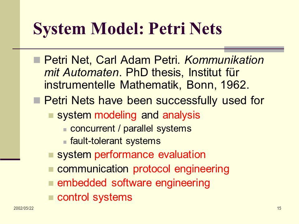 2002/05/22 15 System Model: Petri Nets Petri Net, Carl Adam Petri.