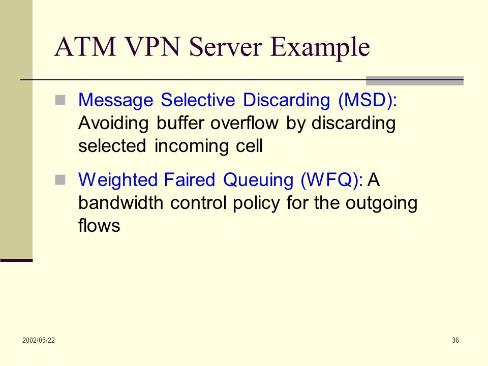 2002/05/22 36 ATM VPN Server Example Message Selective Discarding (MSD): Avoiding buffer overflow by discarding selected incoming cell Weighted Faired Queuing (WFQ): A bandwidth control policy for the outgoing flows