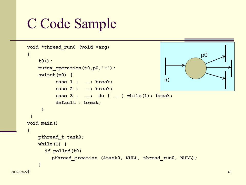 2002/05/22 48 C Code Sample void *thread_run0 (void *arg) { t0(); mutex_operation(t0,p0,'-'); switch(p0) { case 1 : ……; break; case 2 : ……; break; case 3 : ……; do { …… } while(1); break; default : break; } void main() { pthread_t task0; while(1) { if polled(t0) pthread_creation (&task0, NULL, thread_run0, NULL); } t0 p0
