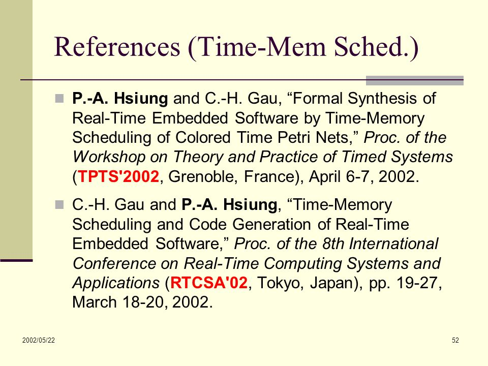 2002/05/22 52 References (Time-Mem Sched.) P.-A. Hsiung and C.-H.