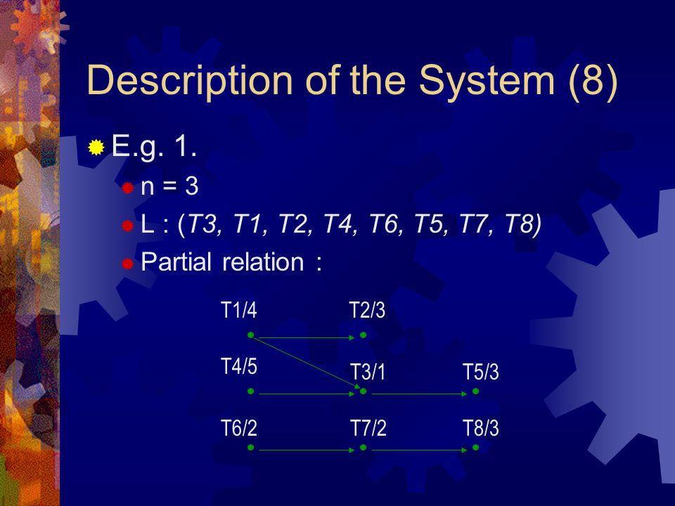 Description of the System (8)  E.g. 1.