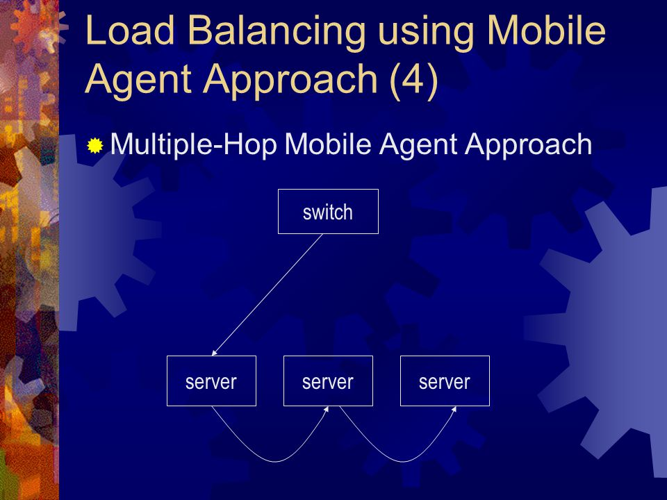 Load Balancing using Mobile Agent Approach (4)  Multiple-Hop Mobile Agent Approach switch server