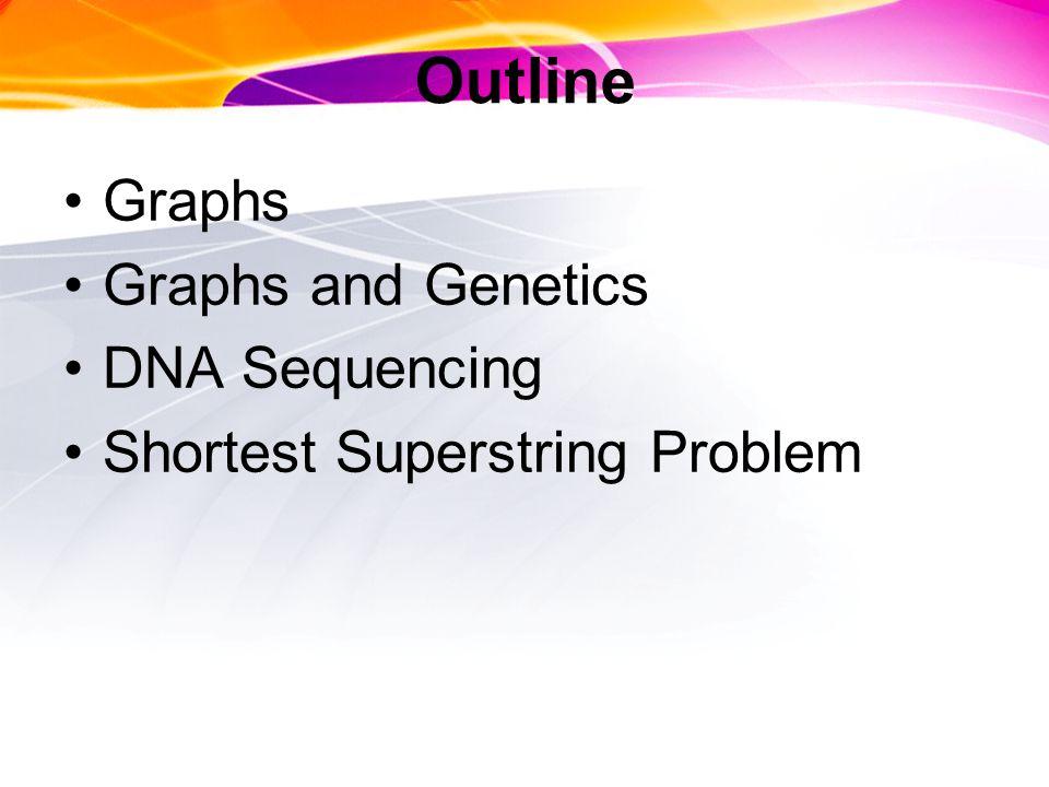 Outline Graphs Graphs and Genetics DNA Sequencing Shortest Superstring Problem