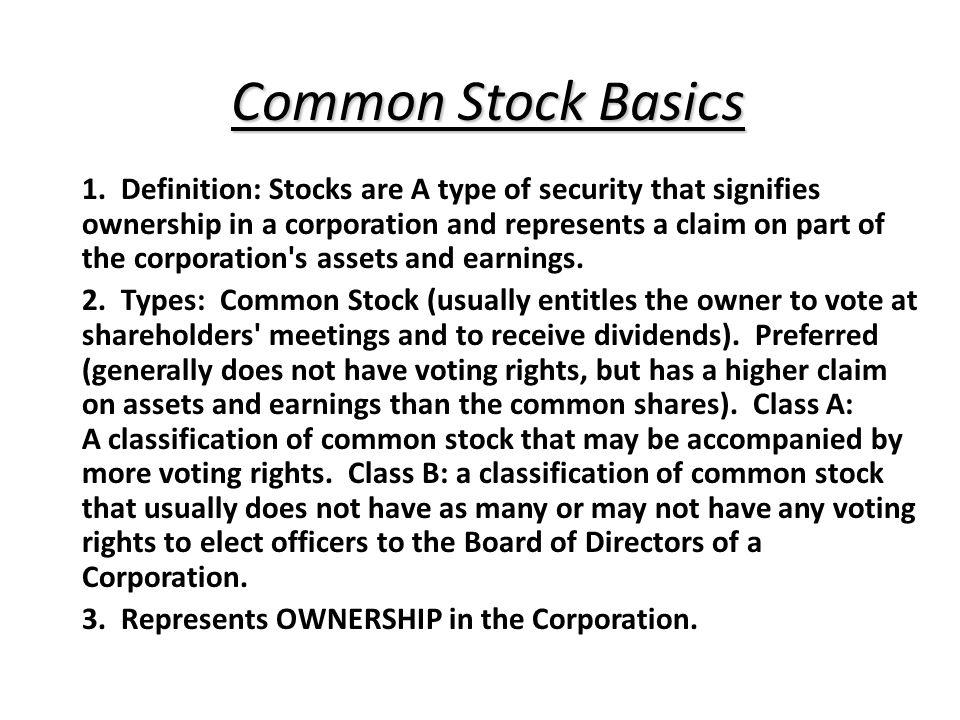 Common Stock Basics 1.