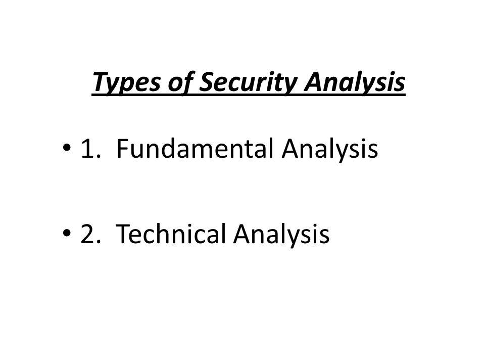 Types of Security Analysis 1. Fundamental Analysis 2. Technical Analysis