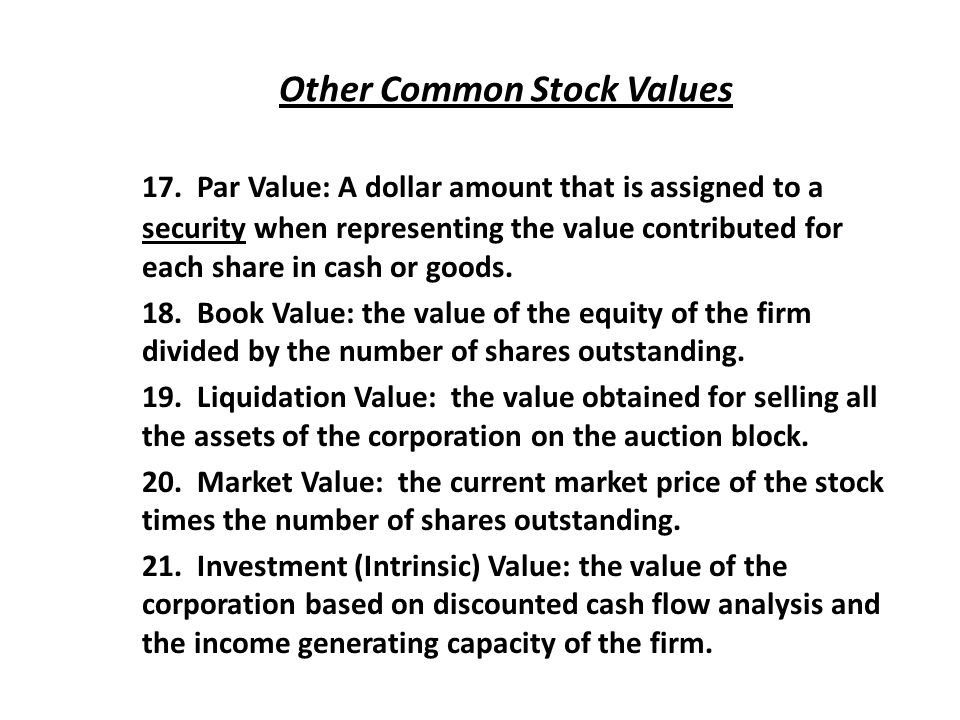 Other Common Stock Values 17.
