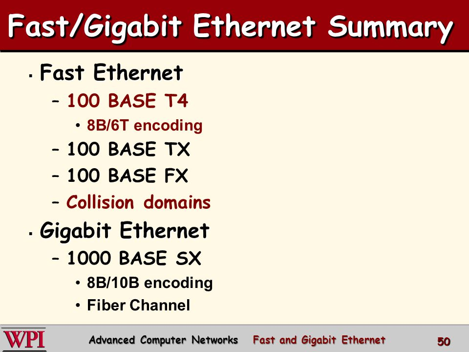  Gigabit Ethernet (continued) –1000 BASE LX –1000 BASE T –1000 BASE CX –Carrier Extension –Frame Bursting –Buffered Distributor  10 Gbps Ethernet  100 Gbps Ethernet Fast/Gigabit Ethernet Summary Advanced Computer Networks Fast and Gigabit Ethernet 51