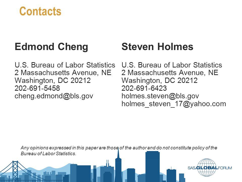 Contacts Edmond Cheng U.S. Bureau of Labor Statistics 2 Massachusetts Avenue, NE Washington, DC 20212 202-691-5458 cheng.edmond@bls.gov Steven Holmes