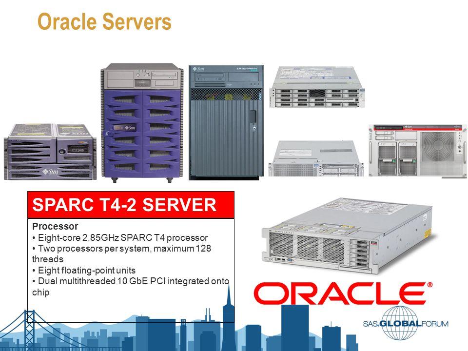 Performance Test Servers Baselines Server Model Linux Lab Linux HP Blade Sun Fire T5240 SPARC Enterprise M3000 SPARC T4-2 Operating System Red Hat Enterprise Linux Server release 6.3 (Santiago) Solaris 10 Processor Intel Xeon E5430 CPU Intel Xeon X5550 UltraSPARC T2+ SPARC64 VII SPARC T4 Specs 2 CPU, 2.66Ghz, quad core 2 CPUs, 1.2 GHz, 6-core 1 CPU, 2.75 GHz, quad-core 2 CPU 2.85 GHz, 8-core Thread88968128 Ram14GB16GB 32GB128GB SAS Version9.2 9.1.39.29.3