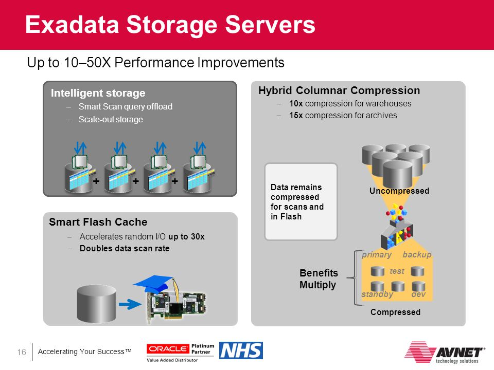 Accelerating Your Success™ 16 Exadata Storage Servers Up to 10–50X Performance Improvements
