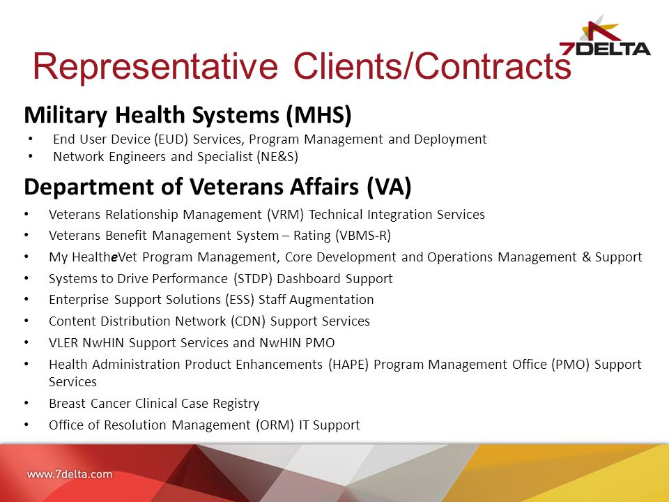 Representative Clients/Contracts Military Health Systems (MHS) End User Device (EUD) Services, Program Management and Deployment Network Engineers and Specialist (NE&S) Department of Veterans Affairs (VA) Veterans Relationship Management (VRM) Technical Integration Services Veterans Benefit Management System – Rating (VBMS-R) My HealtheVet Program Management, Core Development and Operations Management & Support Systems to Drive Performance (STDP) Dashboard Support Enterprise Support Solutions (ESS) Staff Augmentation Content Distribution Network (CDN) Support Services VLER NwHIN Support Services and NwHIN PMO Health Administration Product Enhancements (HAPE) Program Management Office (PMO) Support Services Breast Cancer Clinical Case Registry Office of Resolution Management (ORM) IT Support