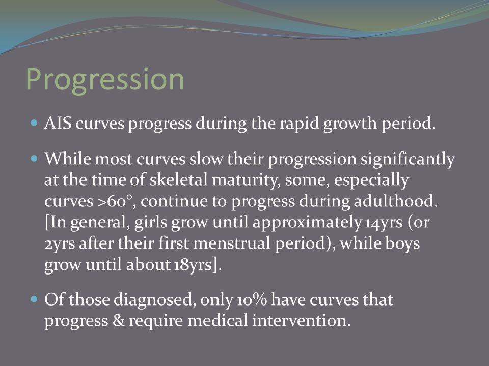 Progression AIS curves progress during the rapid growth period.