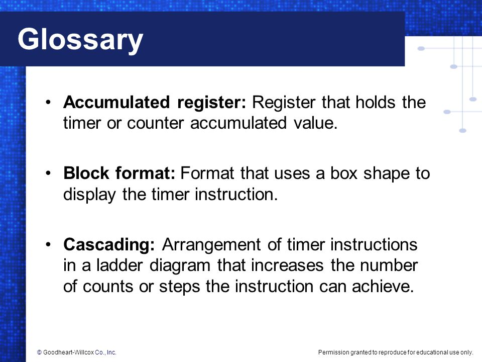 Permission granted to reproduce for educational use only.© Goodheart-Willcox Co., Inc. Glossary Accumulated register: Register that holds the timer or