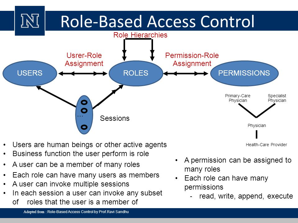 Dynamic Separation of Duty limit the permissions available to a user – places constraints on the roles that can be activated within or across a user's sessions define constraints as a pair (role set, n) with the property that no user session may activate n or more roles from the role set – where n is a natural number n ≤ 2 enables the administrator to specify certain capabilities for a user at different, time spans includes administrative and review functions for defining and viewing DSD relations