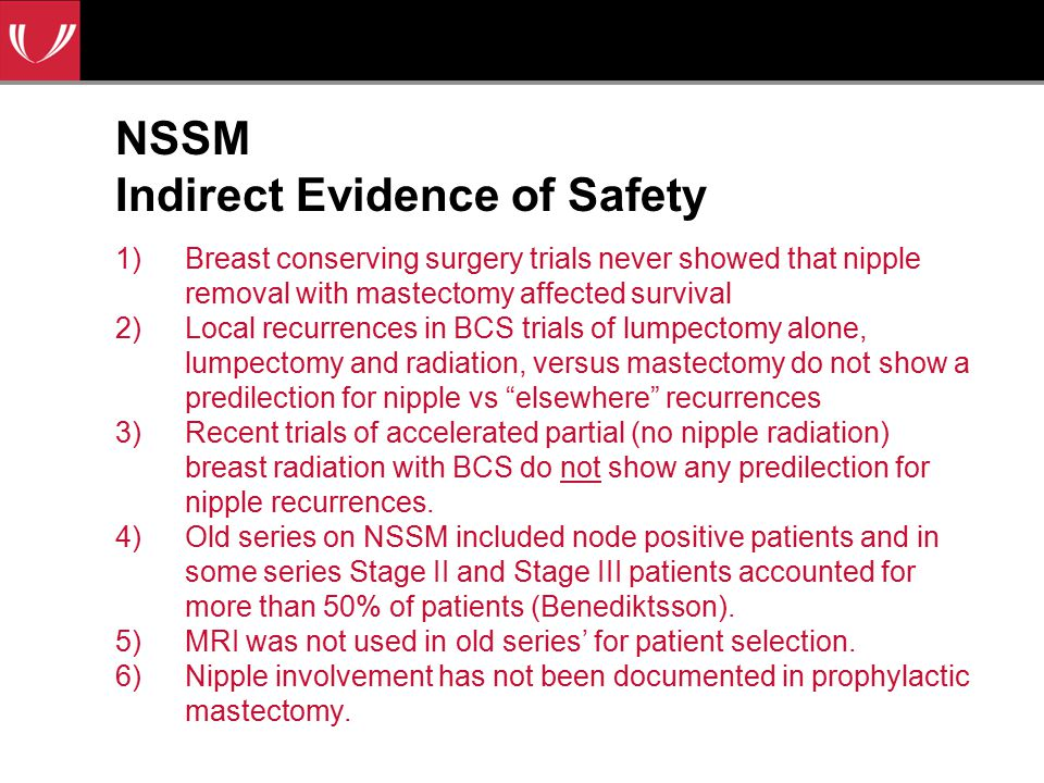 NSSM Indirect Evidence of Safety 1)Breast conserving surgery trials never showed that nipple removal with mastectomy affected survival 2)Local recurrences in BCS trials of lumpectomy alone, lumpectomy and radiation, versus mastectomy do not show a predilection for nipple vs elsewhere recurrences 3)Recent trials of accelerated partial (no nipple radiation) breast radiation with BCS do not show any predilection for nipple recurrences.