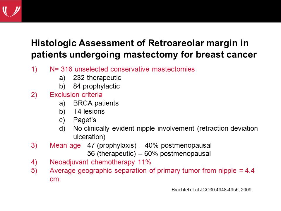 Histologic Assessment of Retroareolar margin in patients undergoing mastectomy for breast cancer 1)N= 316 unselected conservative mastectomies a)232 therapeutic b)84 prophylactic 2)Exclusion criteria a)BRCA patients b)T4 lesions c)Paget's d)No clinically evident nipple involvement (retraction deviation ulceration) 3)Mean age 47 (prophylaxis) – 40% postmenopausal 56 (therapeutic) – 60% postmenopausal 4)Neoadjuvant chemotherapy 11% 5)Average geographic separation of primary tumor from nipple = 4.4 cm.