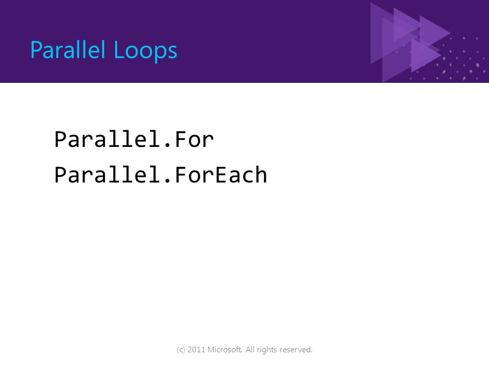 Parallel Loops Parallel.For Parallel.ForEach (c) 2011 Microsoft. All rights reserved.