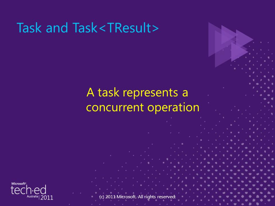 Task and Task A task represents a concurrent operation (c) 2011 Microsoft. All rights reserved.