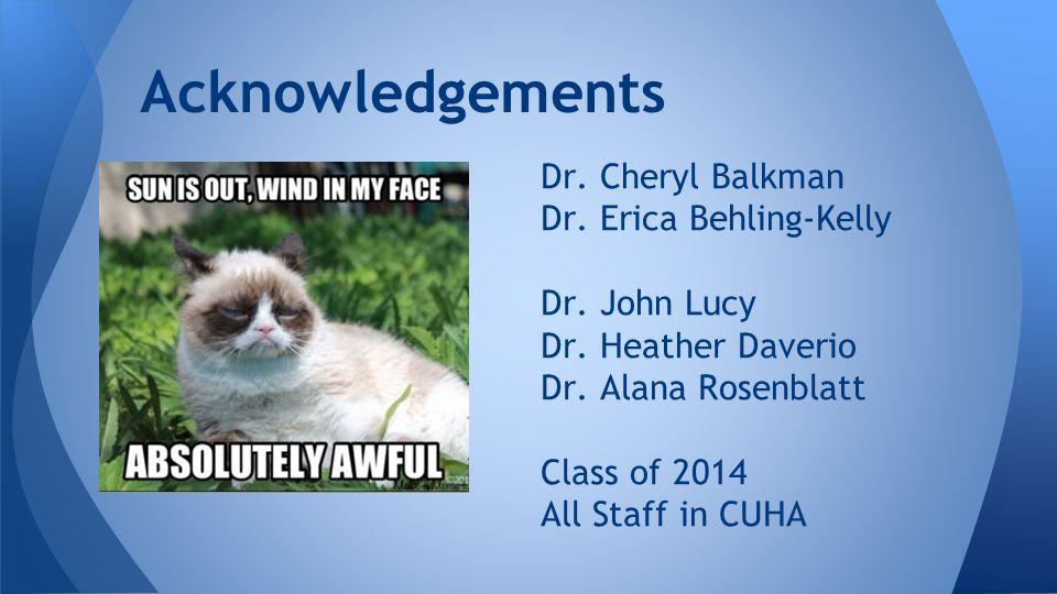 Dr. Cheryl Balkman Dr. Erica Behling-Kelly Dr. John Lucy Dr.