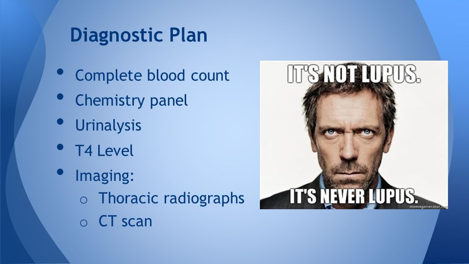 Complete blood count Chemistry panel Urinalysis T4 Level Imaging: o Thoracic radiographs o CT scan Diagnostic Plan