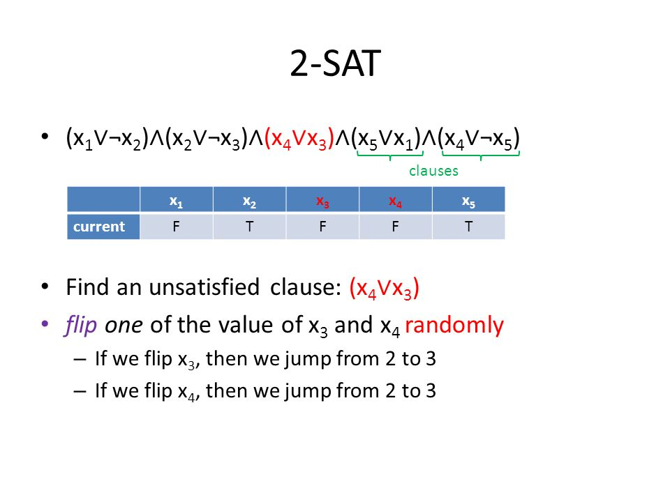 2-SAT (x 1 ∨ ¬x 2 ) ∧ (x 2 ∨ ¬x 3 ) ∧ (x 4 ∨ x 3 ) ∧ (x 5 ∨ x 1 ) ∧ (x 4 ∨ ¬x 5 ) Find an unsatisfied clause: (x 4 ∨ ¬x 5 ) flip one of the value of x 4 and x 5 randomly – If we flip x 4, then we jump from 4 to 5 – If we flip x 5, then we jump from 4 to 3 10 3245 x1x1 x2x2 x3x3 x4x4 x5x5 SolutionTTTTT currentTTTFT clauses with prob.