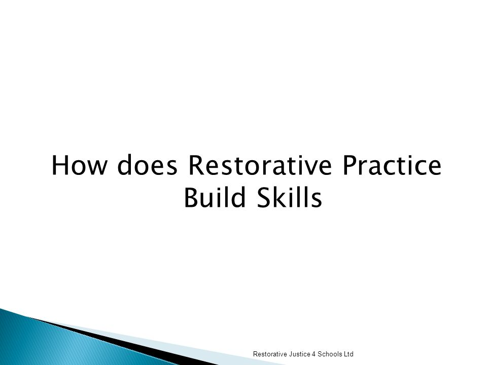 How does Restorative Practice Build Skills Restorative Justice 4 Schools Ltd