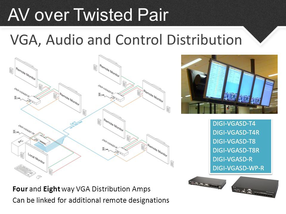 VGA, Audio and Control Distribution AV over Twisted Pair DIGI-VGASD-T4 DIGI-VGASD-T4R DIGI-VGASD-T8 DIGI-VGASD-T8R DIGI-VGASD-R DIGI-VGASD-WP-R DIGI-VGASD-T4 DIGI-VGASD-T4R DIGI-VGASD-T8 DIGI-VGASD-T8R DIGI-VGASD-R DIGI-VGASD-WP-R Four and Eight way VGA Distribution Amps Can be linked for additional remote designations