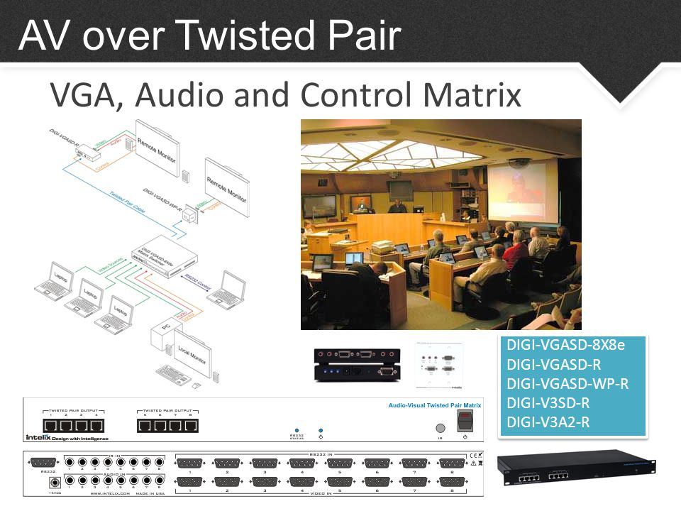 VGA, Audio and Control Matrix AV over Twisted Pair DIGI-VGASD-8X8e DIGI-VGASD-R DIGI-VGASD-WP-R DIGI-V3SD-R DIGI-V3A2-R DIGI-VGASD-8X8e DIGI-VGASD-R DIGI-VGASD-WP-R DIGI-V3SD-R DIGI-V3A2-R