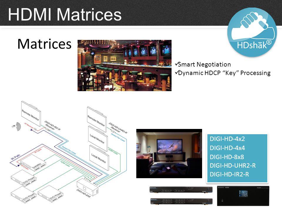 Matrices HDMI Matrices DIGI-HD-4x2 DIGI-HD-4x4 DIGI-HD-8x8 DIGI-HD-UHR2-R DIGI-HD-IR2-R DIGI-HD-4x2 DIGI-HD-4x4 DIGI-HD-8x8 DIGI-HD-UHR2-R DIGI-HD-IR2-R Smart Negotiation Dynamic HDCP Key Processing