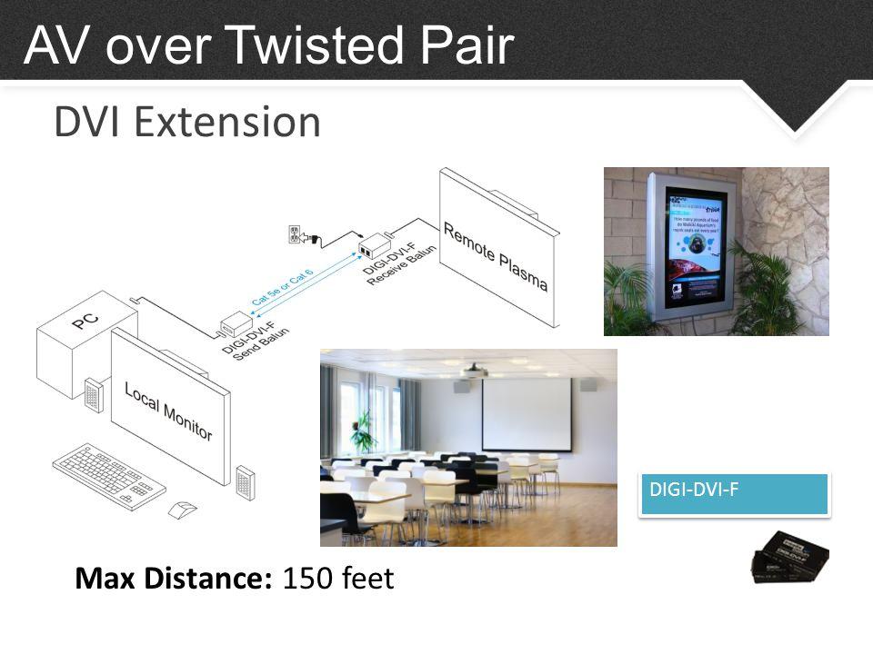 DVI Extension AV over Twisted Pair DIGI-DVI-F Max Distance: 150 feet