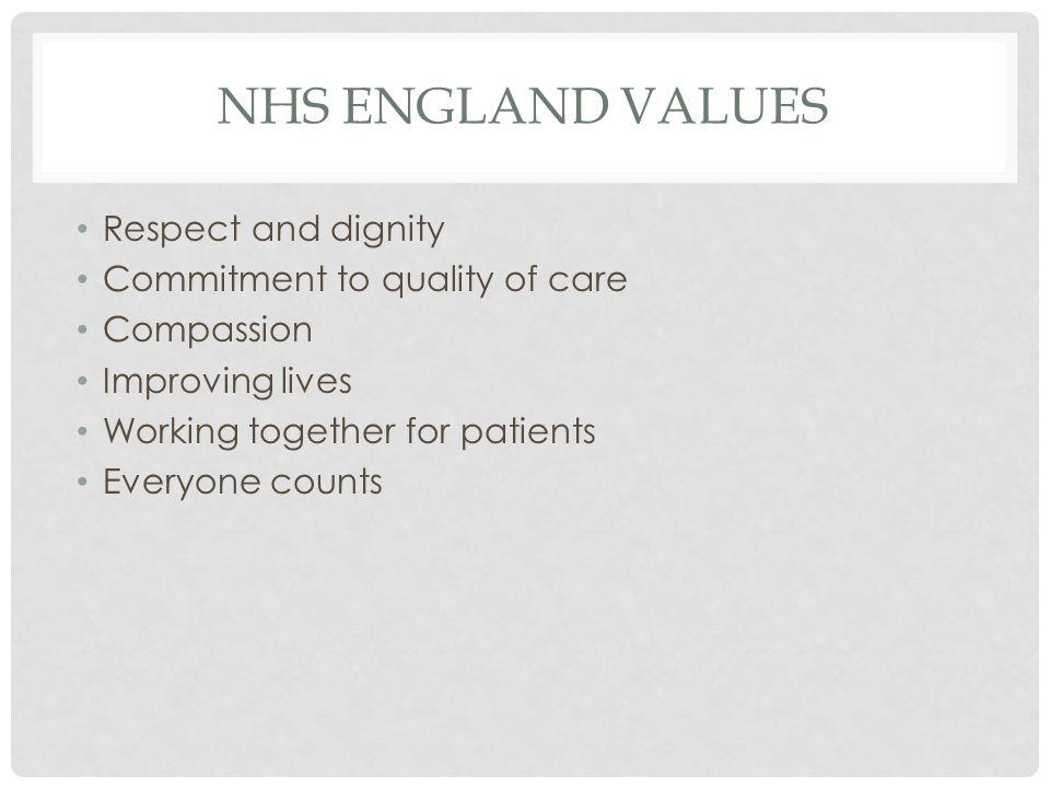 NHS ENGLAND VALUES Respect and dignity Commitment to quality of care Compassion Improving lives Working together for patients Everyone counts