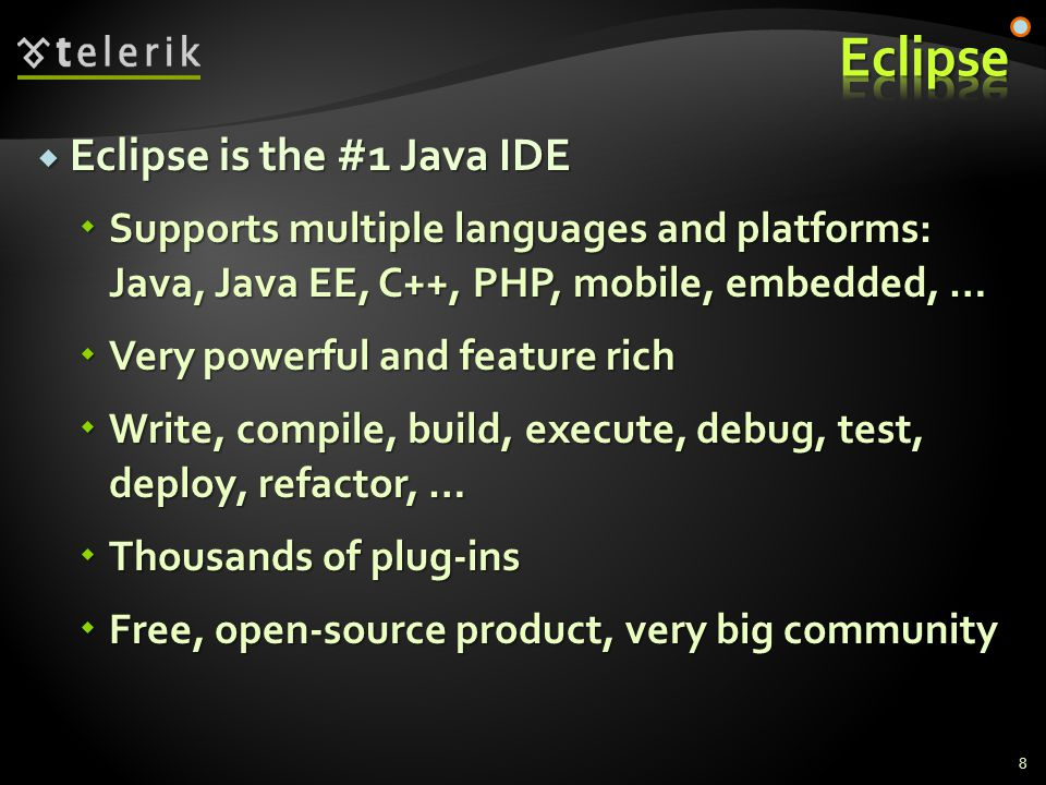  CVS  Was extremely popular in the past  Now it is obsolete  Open source, mostly used in UNIX / Linux  Git and Mercurial  Fast, distributed, open source  Perforce  Very powerful and scalable (pentabytes of code)  Commercial product (used by SAP) 19