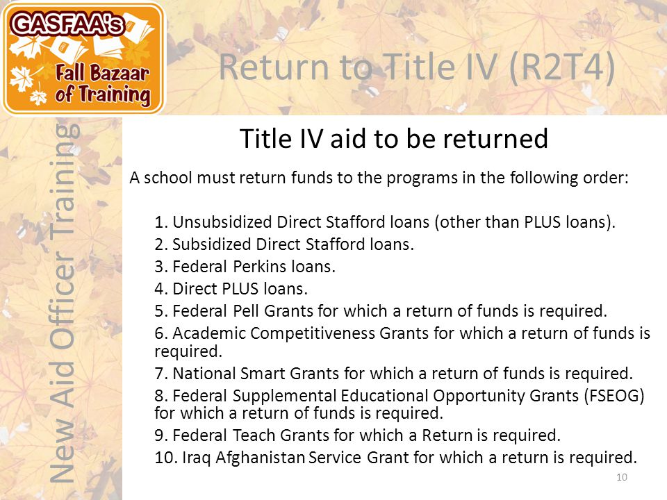 New Aid Officer Training Return to Title IV (R2T4) A school must return funds to the programs in the following order: 1.