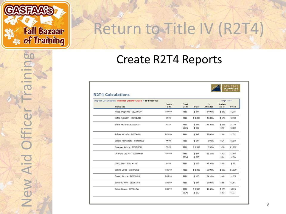 New Aid Officer Training Return to Title IV (R2T4) Create R2T4 Reports 9