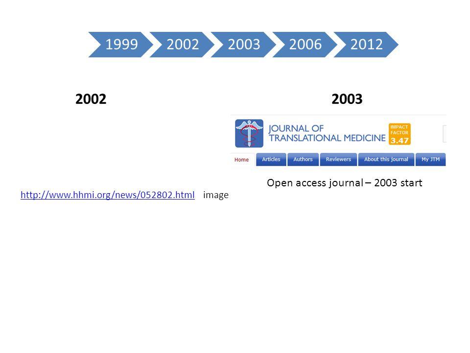 2002 http://www.hhmi.org/news/052802.htmlhttp://www.hhmi.org/news/052802.html image 2003 Open access journal – 2003 start 19992002200320062012