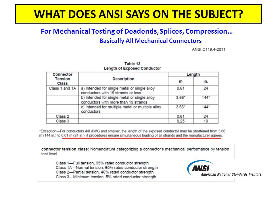 For Mechanical Testing of Deadends, Splices, Compression… Basically All Mechanical Connectors WHAT DOES ANSI SAYS ON THE SUBJECT