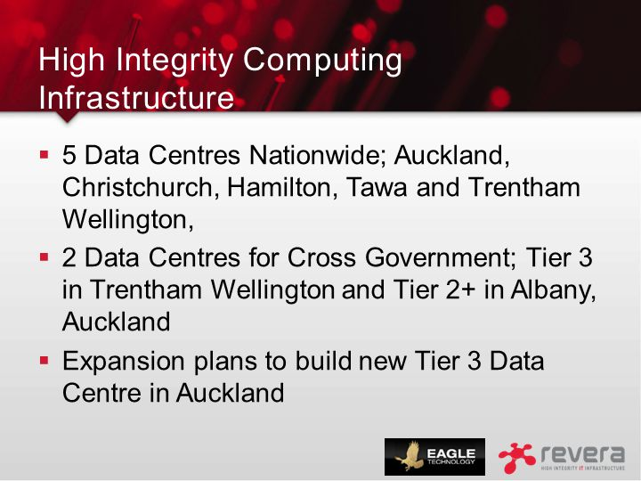 High Integrity Computing Infrastructure  5 Data Centres Nationwide; Auckland, Christchurch, Hamilton, Tawa and Trentham Wellington,  2 Data Centres