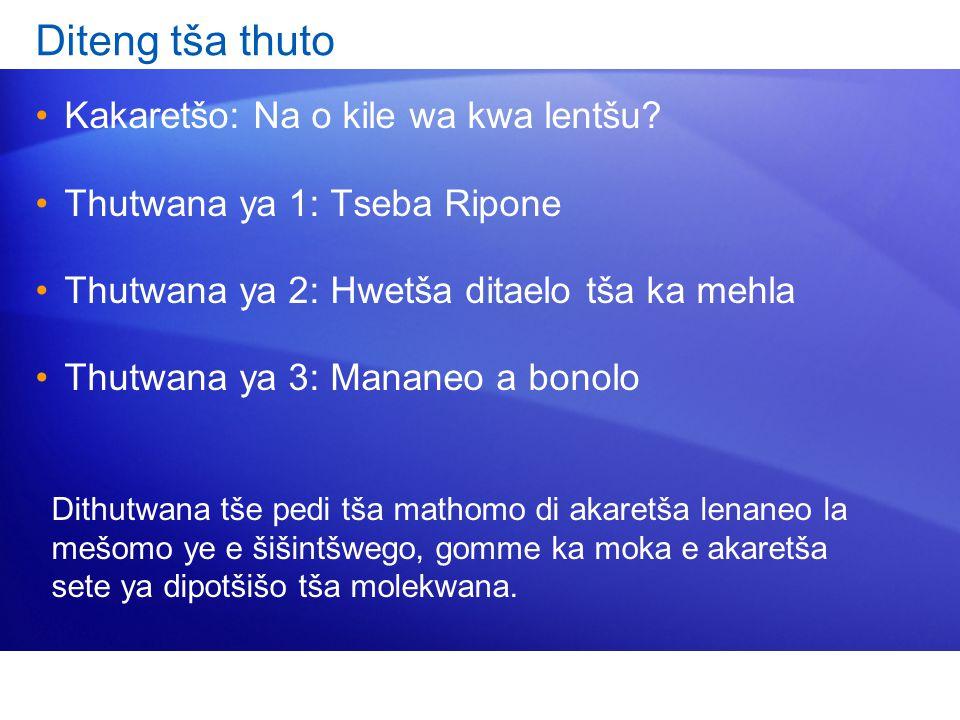 Diteng tša thuto Kakaretšo: Na o kile wa kwa lentšu? Thutwana ya 1: Tseba Ripone Thutwana ya 2: Hwetša ditaelo tša ka mehla Thutwana ya 3: Mananeo a b