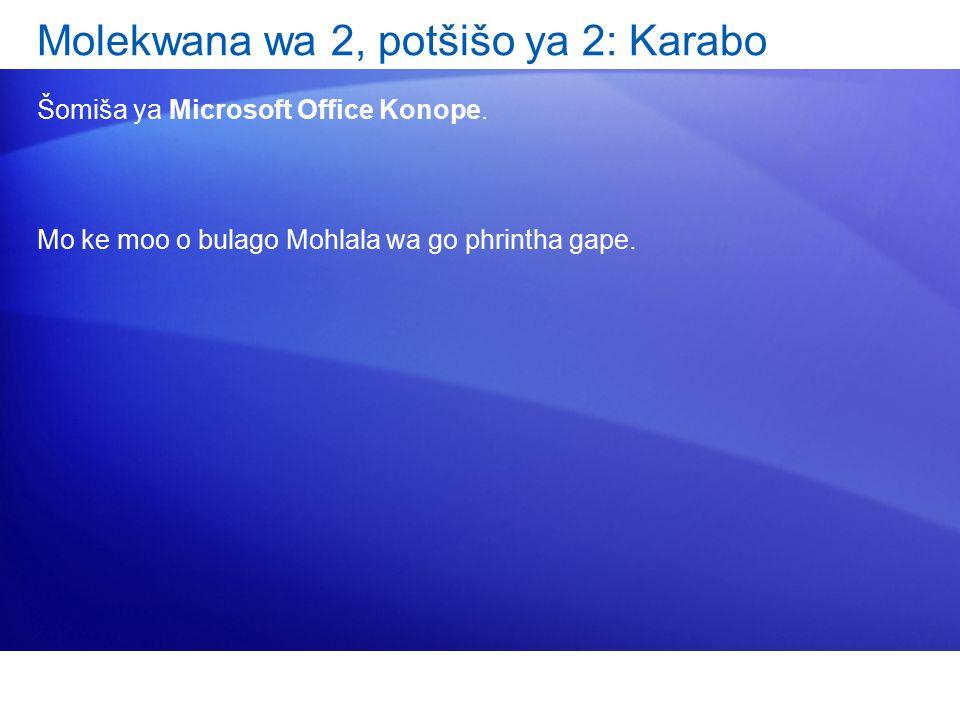 Molekwana wa 2, potšišo ya 2: Karabo Šomiša ya Microsoft Office Konope. Mo ke moo o bulago Mohlala wa go phrintha gape.